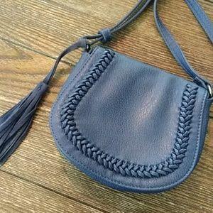 Blue leather lucky brand boho purse w tassel